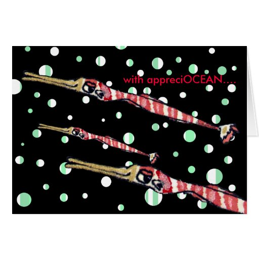 Thank You Card Cartoon Red Stripe Pipe Fish