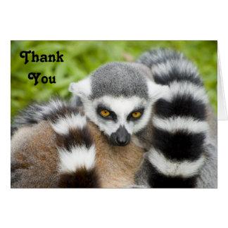Thank You Card - Cute Lemur Stripey Tail