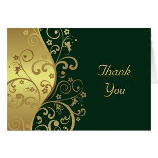 Thank You Card--Dark Green & Gold Swirls Card