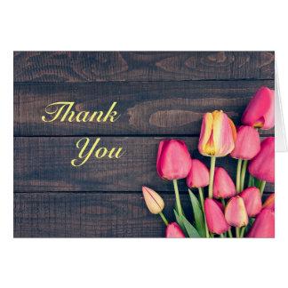 Thank You Card--Dark Pink Tulips & Dark Wood Card