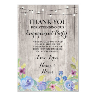 Thank You Card Engagement Wedding Wood Floral