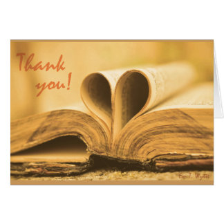 Thank You Card for Book Lovers Blank Inside