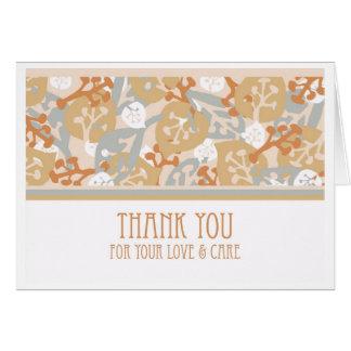 Thank You Card for Caregiver, Leaf Shapes Art