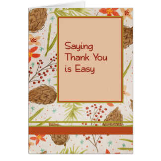 Thank You Card for Co-Worker, Pine Cones & Berries