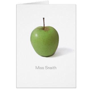 Thank You Card For Teacher - Green Apple