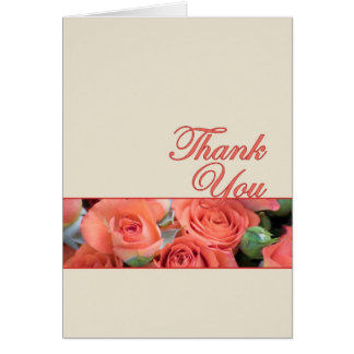 Thank You Card For Wedding Peach And Cream