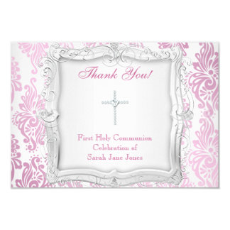 Thank You Card Girl First Holy Communion Cross 9 Cm X 13 Cm Invitation Card