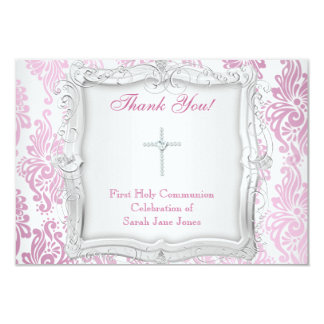 Thank You Card Girl First Holy Communion Cross Invites