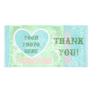 Thank You Card, Heart Photo Insert, Pastel Colors Custom Photo Card