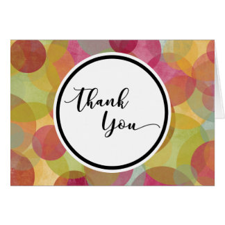 Thank You Card in Circle over Colorful Bubbles
