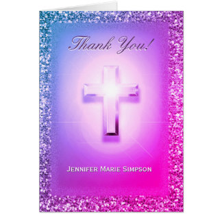 Thank You Card in Rainbow Glitter Colors