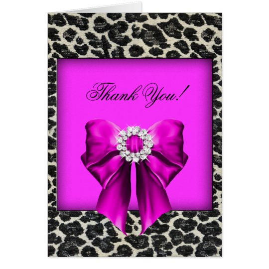 Thank You Card Leopard hot pink