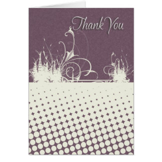 Thank You Card Modern Floral Dotted