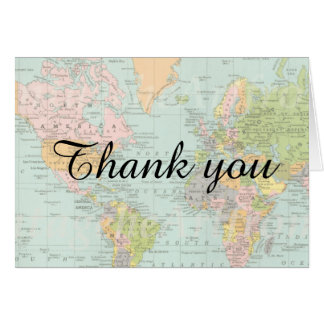 Thank You Card - Multicolor World Map