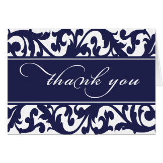 Thank You Card Navy Floral