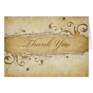 Thank You Card on Parchment with Classic Swirls