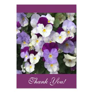 Thank you card - pansies 13 cm x 18 cm invitation card