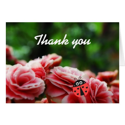 Thank you card - Pink flowers with cute ladybug
