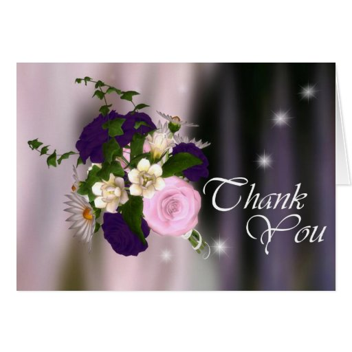 Thank You Card - Pink & Purple Rose Bouquet