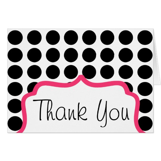 Thank You Card - Polka Dot And Pink
