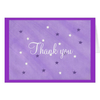 Thank you card, purple and white stars card