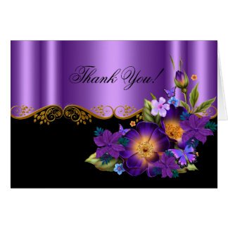Thank You Card Purple Floral Black Gold