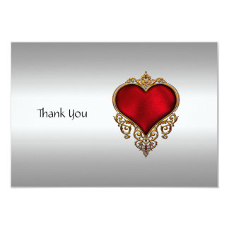Thank you Card Silver and Heart