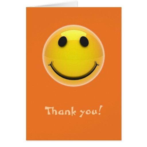 Thank you card - smiling smiley on orange