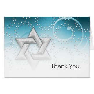 Thank You Card Turquoise Shimmer Star of David