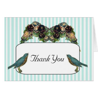 Thank You Card Victorian Love Birds