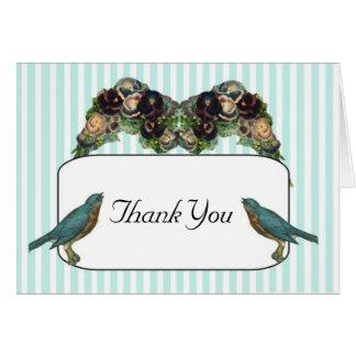 Thank You Card Victorian Love Birds