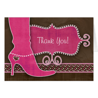 Thank You Card w/ fun Pink Boot & heart dots