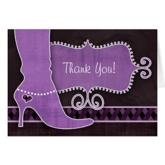 Thank You Card w/ fun Purple Boot & heart diamonds