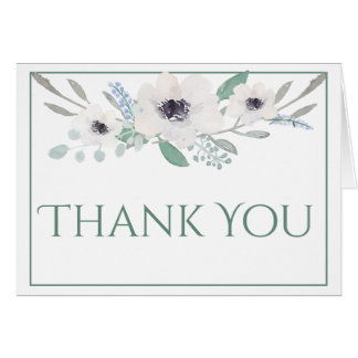 Thank You Card | White Watercolor Bouquet