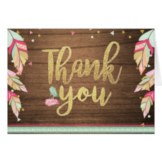 Thank you card Wild one Gold Pink Girl Boho Tribal