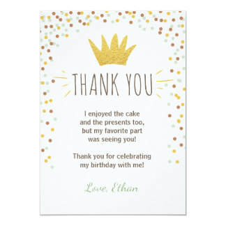 Thank you card Wild things Birthday Gold Boy Crown