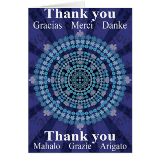 Thank You Card with Blue Cosmos Mandala