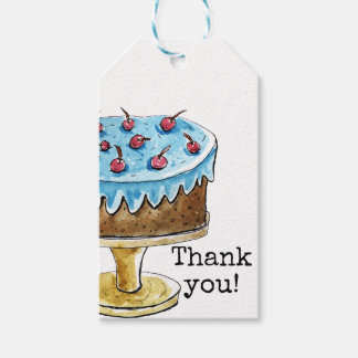 Thank you card with cute cake gift tags