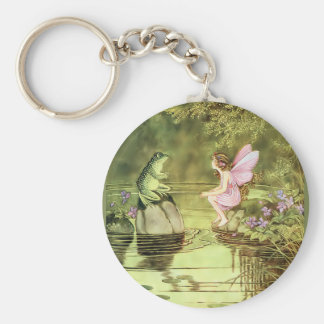 Thank You Card with Fairy and Frog Basic Round Button Key Ring