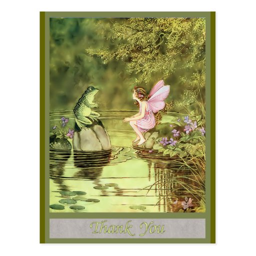 Thank You Card with Fairy and Frog Postcards