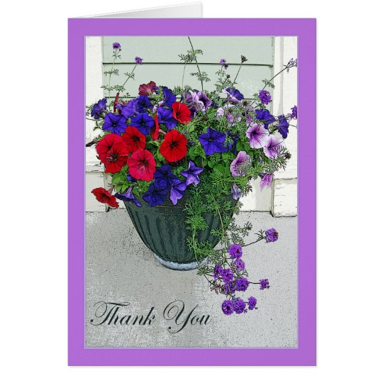 Thank You Card with Flower Arrangement, Petunias