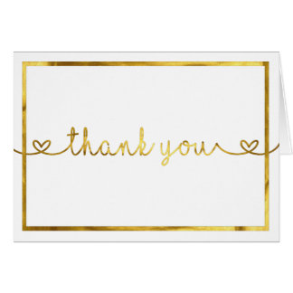 Thank You Card with Gold Foil font/border