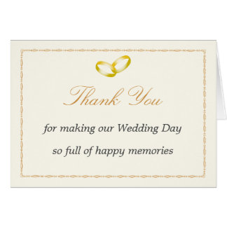 Thank You Card with joined Gold Rings Graphic