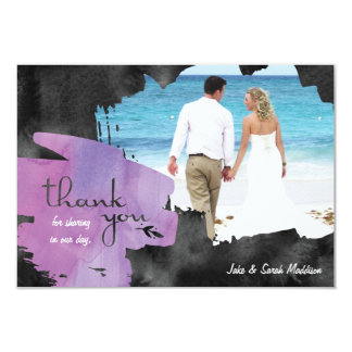 Thank You Card with Photo Watercolor Purple Black