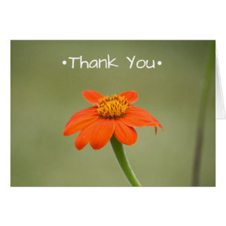 Thank You Card With Small Orange Flower