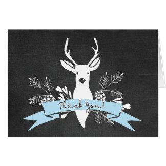 Thank You Card, Woodland Deer Chalkboard, Blue Note Card