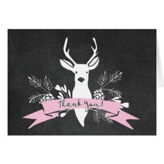 Thank You Card, Woodland Deer Chalkboard Card