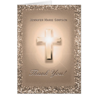 Thank You Cardin Gold Rose Glitter Colors Card