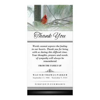 Thank You Cardinal Bird Words Cannot Express Personalized Photo Card