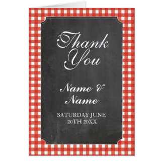 Thank You Cards Bridal Red Check Wedding Chalk